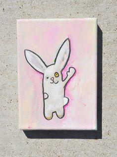 Pink bunny painting 5x7 acrylic von rainebears auf Etsy, $30,00