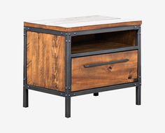 Scandinavian Designs - Outfitted with a storage cubby and large drawer, the Insigna nightstand offers stylish storage space. Crafted from solid American poplar wood and finished with a natural antique stain, it stands up to the test of time while offering a timeless aesthetic. Metal framing and drawer pulls artfully complete the look.