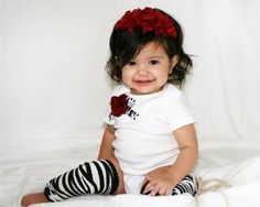 Three Piece Set Onesie With A Zebra Heart Applique by pilycouture, $34.95