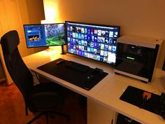 """High refresh rate TV's can make great monitor substitutes, but should be avoided for competitive """"twitch"""" style gaming Laptop Gaming Setup, Gaming Room Setup, Pc Setup, Gaming Computer, Computer Rooms, Gaming Rooms, Gaming Desktop, Simple Computer Desk, Computer Desk Setup"""