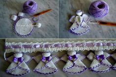 Capia or souvenir Crochet Angels, Crochet Cross, Crochet Home, Love Crochet, Filet Crochet, Learn To Crochet, Crochet Baby, Knit Crochet, Crochet Borders
