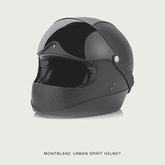 The new Montblanc 'Urban Spirit' motorcycle helmet—designed to evoke the style of 1970s racing helmets.