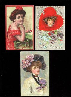 3 Valentine Postcards Circa 1910 Victorian Women Free Shipping!