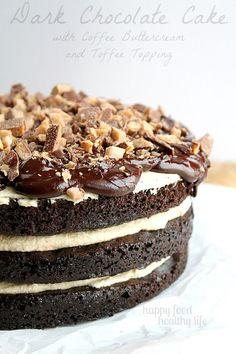 Dark Chocolate Cake with Coffee Buttercream from www.happyfoodhealthylife.com