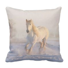 white horse in snow high quality photo printed throw pillow - rustic gifts ideas customize personalize
