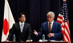 U.S. Secretary of Defense Chuck Hagel (R) and his Japanese counterpart Itsunori Onodera attend their joint news conference at the Defense Ministry in Tokyo. — Photo by Reuters