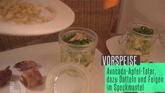 Rezept: Avocado-Apfel-Tatar mit Mozzarella, dazu Feigen und Datteln im Speckmantel