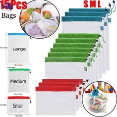 Reusable Mesh Produce Bags Washable Eco Friendly Bags for Grocery Shopping Storage Toys Fruit Vegetable Storage Bag Storing Plastic Bags, Fruit And Vegetable Storage, Eco Friendly Bags, Hobby Supplies, Produce Bags, Toy Storage, Kitchen Storage, Travel Items, Freundlich