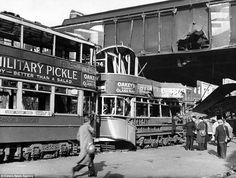 Aftermath of a high explosive bomb in Blackfriars Road, London, on 24 October There is visible damage to the train bridge between London Bridge and Waterloo stations, and to two trams travelling under the bridge Vintage London, Old London, London Bus, London Bridge, Waterloo Station, Westminster Bridge, The Blitz, Air Raid, Rare Images