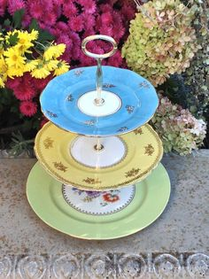 Rainbow Cake Tier 3 Tier Cake Stand for by HelensRoyalTeaHouse, $130.00   https://www.facebook.com/HelensRoyalTeaHouse?ref=tn_tnmn  http://www.etsy.com/shop/HelensRoyalTeaHouse
