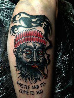 Pirate Tattoo By Luke Jinks #tattoo #tattoos #traditional #traditionaltattoo #london #londontattoo #tattooart #pirate #smoke #cigarette #fierce #hot #for #guys #men #cloak #and #dagger #studio #cloakanddagger