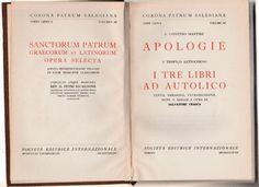 S. Giustino Martire Apologie S. Teofilo I tre libri ad autolico 1938  B3277