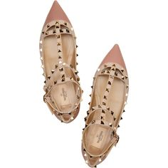 Valentino Studded leather ballet flats ($795) ❤ liked on Polyvore featuring shoes, flats, valentino, heels, scarpe, ballet flat shoes, pointy-toe flats, pointed-toe ankle-strap flats, leather ballet flats and leather flats