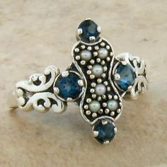 Genuine London Blue Topaz Antique Victorian Style 925 Silver Ring Size 9 42 | eBay
