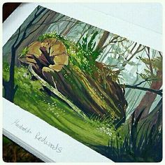 Plein air gouache #sketchbook #painting from the Humboldt Redwoods by @jawcooper Pretty freaking amazing! #CreativeAirship  Be sure to  the original too!