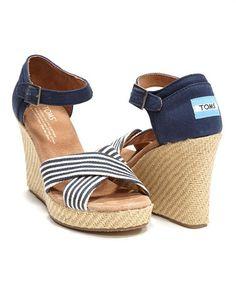 Toms nautical Navy stripe University Wedge Sandal