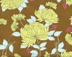 Patchworkstoff BELLE CHRYSANTHEMUM mit große Chrysanthemen, olivebraun-helles apfelgrün