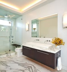 bathroom - One sink, two faucets... think I like it!