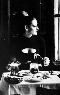 deshistoiresdemode: Inès de la Fressange in Chantal Thomass @Brasserie Lipp (Paris) _ Photo by Sasha van Dorssen, Marie Claire Bis, fw 1982/1983.