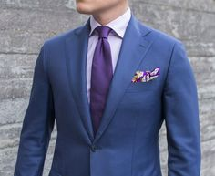 ​navy suit purple shirt
