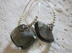 Smoky Grey Crystal and Silver Hoop Earrings by edanebeadwork, $18.00