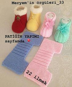 Yapmak işleyenler için harika ve pratik bir model👏👏👏 . A great and practical model for those who do. I sift # # Göznur of… Baby Booties Knitting Pattern, Crochet Baby Shoes, Crochet Baby Booties, Baby Knitting Patterns, Baby Patterns, Free Knitting, Crochet Patterns, Knitted Slippers, Baby Slippers