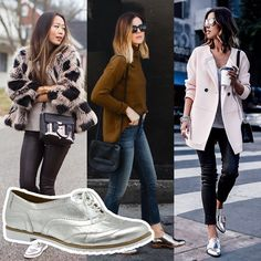 Resultado de imagem para sapato oxford feminino look 2017 spring summer сти Oxford Outfit, Plus Size Tumblr, Look Oxford, Silver Oxfords, Silver Shoes, Sneakers Outfit Work, Semi Formal Wear, Chill Style, Outfit Invierno