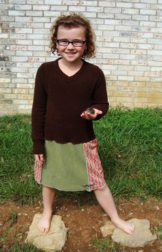 Girls Sweater Dress/Upcycled Girls Dress/Brown by RebirthRecycling, $33.00