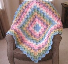 bavarian rainbow afghan -see http://sarahlondon.wordpress.com/2009/08/25/wool-eater-instructions/ for basic instructions