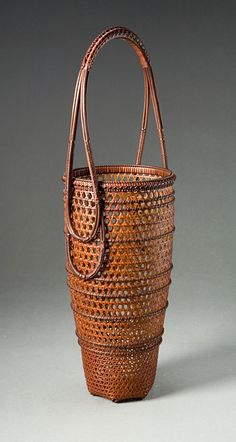 Two-Layered Hexagonal Plaited Flower Basket with Handle, Forest of Cranes, approx. 1998  By Iizuka Shokansai (1919-2004)
