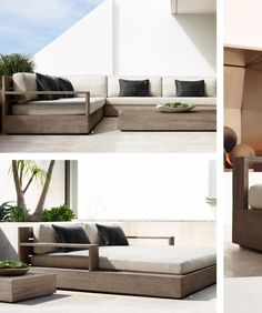 Patio seating marbella collection weathered grey teak for Sofa exterior marbella