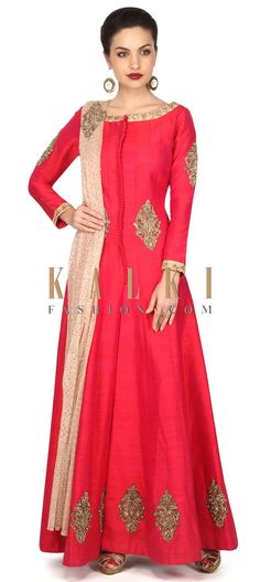 Buy Onlin Rani pink anarkali suit with embroidered neckline and kali only on Kalki