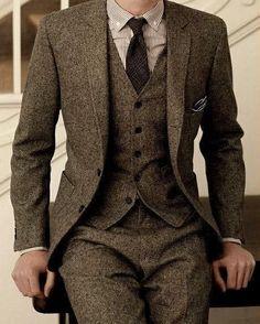 Brown Tweed Suit Slim Fit Wedding Suits 3 Piece-Suit-LeStyleParfait.Com #menweddingsuits