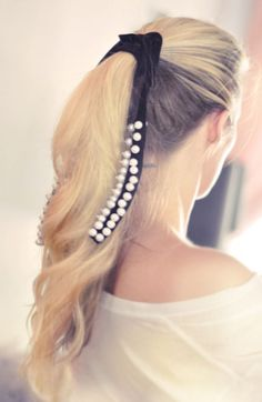 How To Make A Velvet And Pearl Hair Ribbon | Shelterness