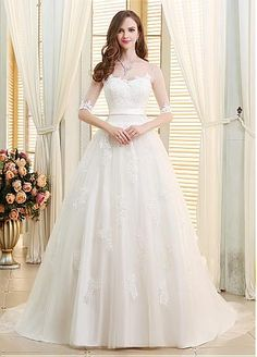 Buy discount Stunning Tulle Scoop Neckline Ball Gown Wedding Dresses With Lace Appliques at Dressilyme.com