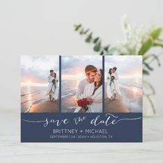 Hand Lettered 3 Image Navy Blue Save The Date Grey Save The Dates, Save The Date Photos, Save The Date Cards, Good Cheer, Card Maker, Personal Photo, Zazzle Invitations, Photo Cards, Engagement Photos