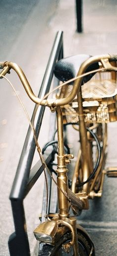 If I had this golden bicycle, I would go riding more often.