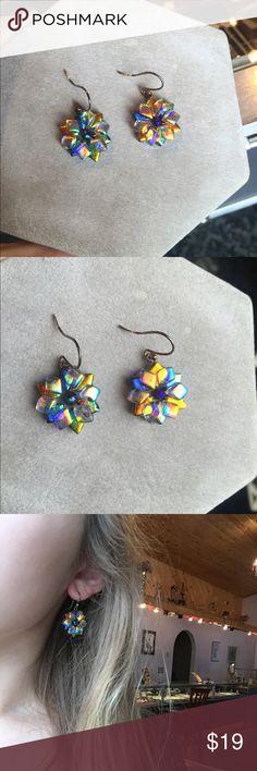 Dichroic glass Sterling silver earrings Beautiful hand made earrings with Sterling silver. Jewelry Earrings