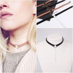 Brown Black Choker Necklace Women Gold/Silver Plated Velvet Choker Chocker Bar Stick Pendant Necklace 2017 collier ras du cou