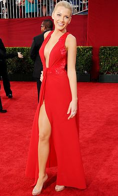 Blake Lively, 2009 made her Emmys debut in a lipstick-red Versace gown that was both low-dipping and high-cut.