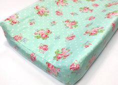 Mint Coral Floral Contour Changing Pad CoverS Baby girl
