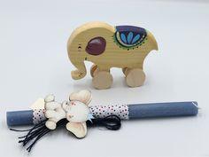 λαμπάδες πασχαλινές με παιχνίδι ξύλινο ελεφαντάκι, annassecret, Χειροποιητες μπομπονιερες γαμου, Χειροποιητες μπομπονιερες βαπτισης