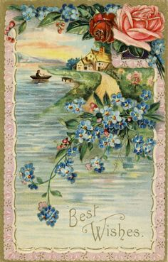 Vintage Postcard with Forget Me Nots and roses