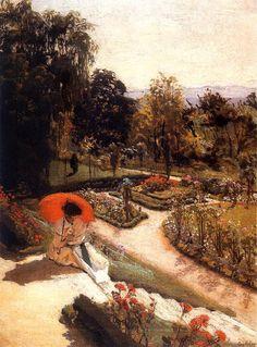 Mehoffer, Józef Reading on Garden Steps, 1917 Modern Art Styles, Parasols, Umbrellas, Red Umbrella, Garden Steps, Post Impressionism, Ways Of Seeing, Modern Artists, Love Painting