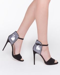 Eileen black microsuede heel with glitter back detail