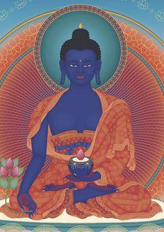 Buda de la Medicina Tibetan Art, Tibetan Buddhism, Indian Paintings, Art Paintings, Mahayana Buddhism, Buddhist Practices, Thangka Painting, Buddhist Traditions, Buddhist Philosophy
