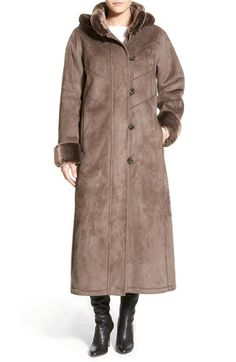 Gallery Long Hooded Faux Shearling Coat