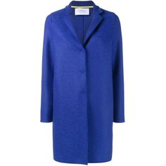 Harris Wharf London buttoned short coat (25.745 RUB) ❤ liked on Polyvore featuring outerwear, coats, blue, blue wool coat, woolen coat, wool coat, short coat and button coat