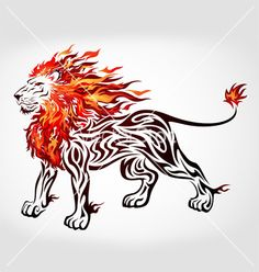 Tribal flame lion vector on VectorStock®