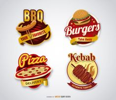 Fast food logo collezione Vettore gratuito